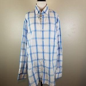 Tailorbyrd Blue & White Plaid Button Down Shirt XL